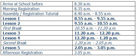 new school time table